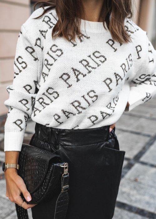 Sweater with ecru Paris print