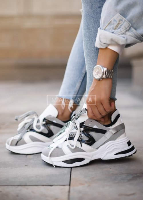 Grey and white sneakers - DESIGN BLACK