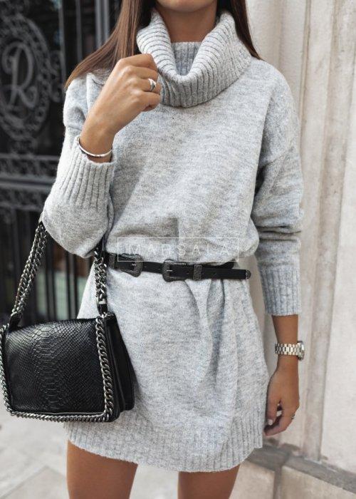 Long bottle grey turtleneck sweater – SWEATDRESS