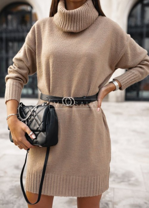 Long bottle beige turtleneck sweater – SWEATDRESS