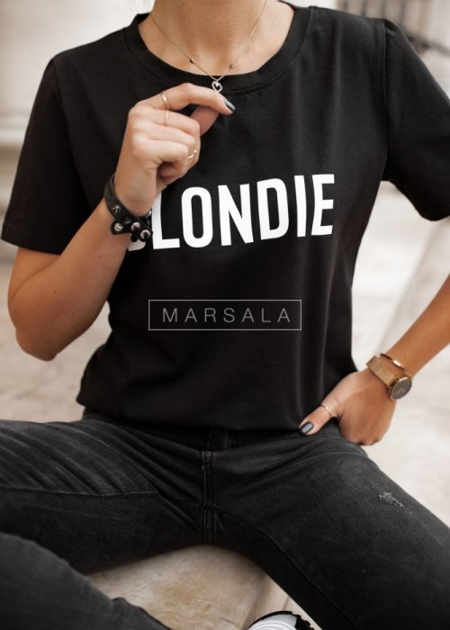 Women's black t-shirt with BLONDIE print