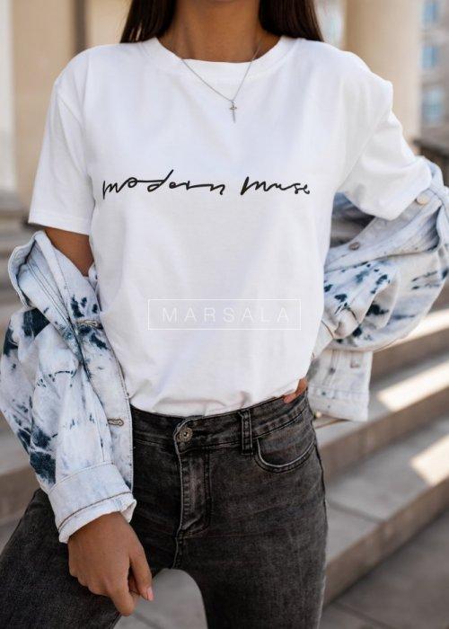 T-shirt damski w kolorze białym z nadrukiem MODERN MUSE