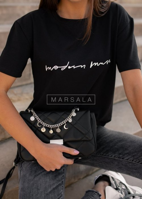 Women's black t-shirt with print MODERN MUSE