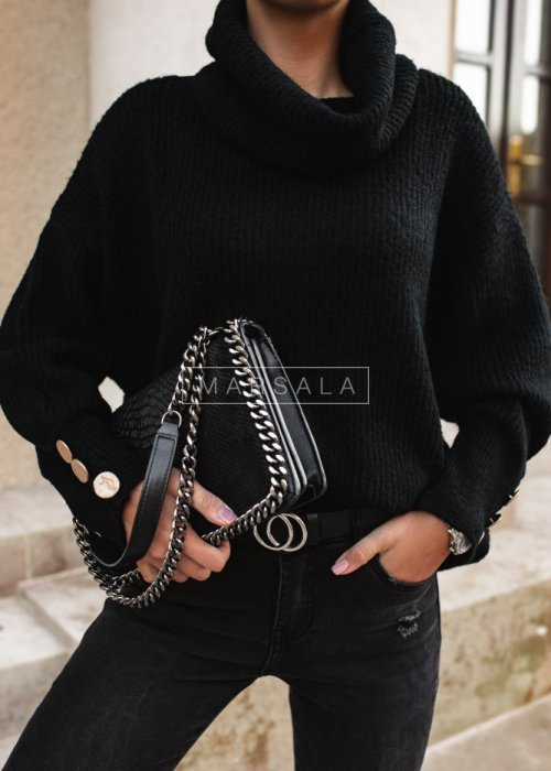 Bottle black turtleneck with buttoned sleeves – NICOLE