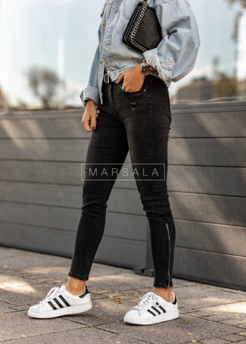 Spodnie jeansowe SILVER BLACK z zamkami