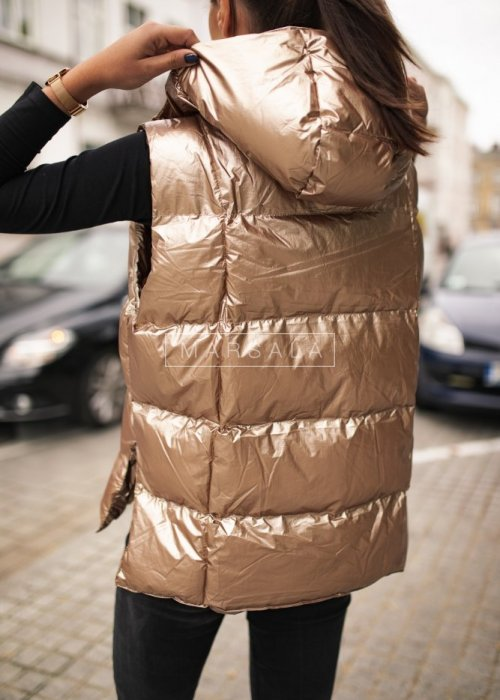 Sleeveless gold quilted down vest - ARMOUR GOLD