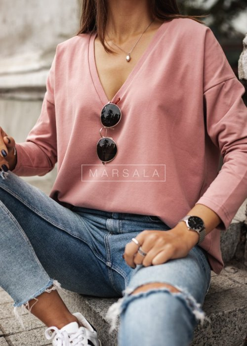 Long sleeved NECK V BY MARSALA dirty pink