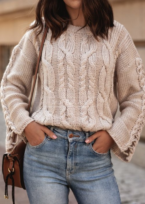 Short wide sleeved sweater beige – COCOA