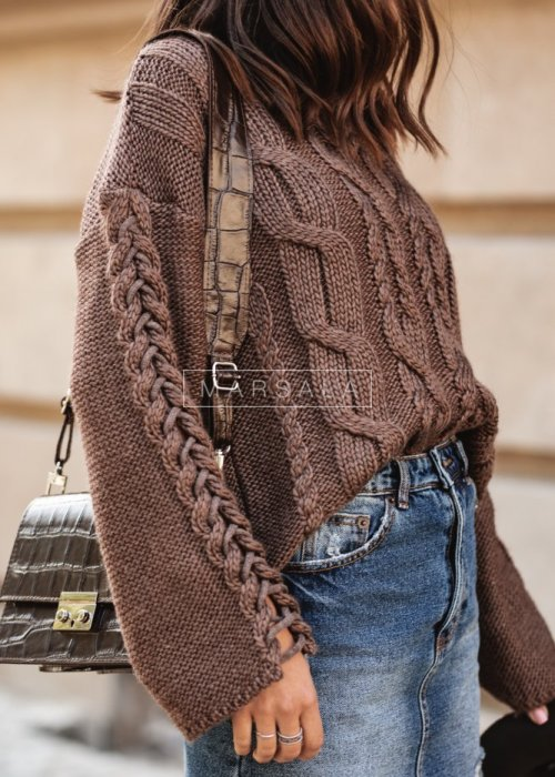 Short wide sleeved sweater brown – COCOA