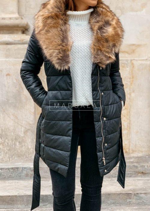 Kurtka/płaszcz czarny z brązowym futerkiem - PREMIUM