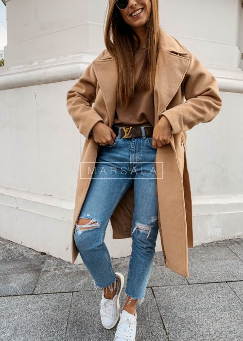 Long coat in beige with belt – GOSSIP