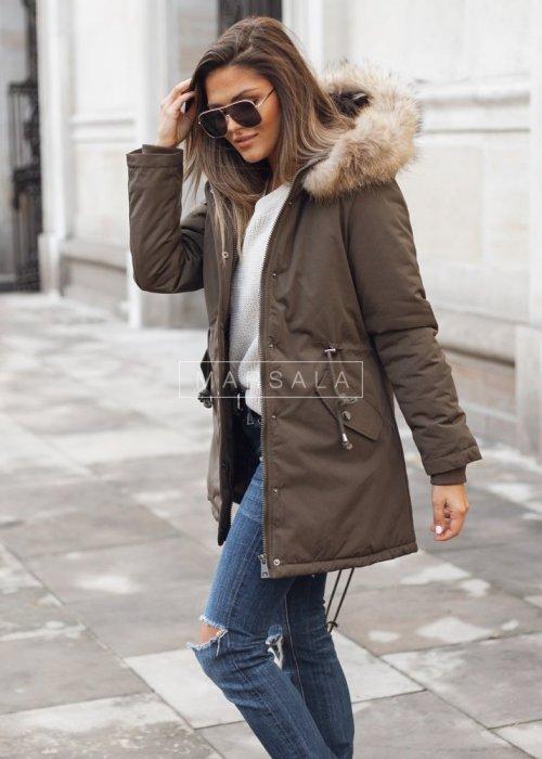 Hooded khaki winter jacket / parka with natural fur – THOMAS