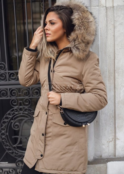 Long beige winter jacket draped at the waist – ONLY