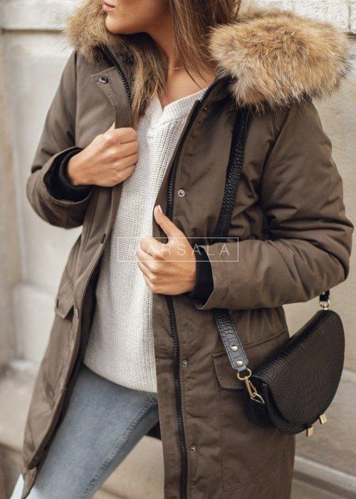 Long khaki winter jacket draped at the waist – ONLY