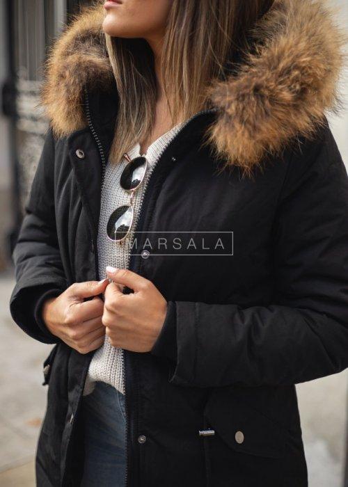 Kurtka/parka w kolorze czarnym zimowa z kapturem i naturalnym futrem - THOMAS