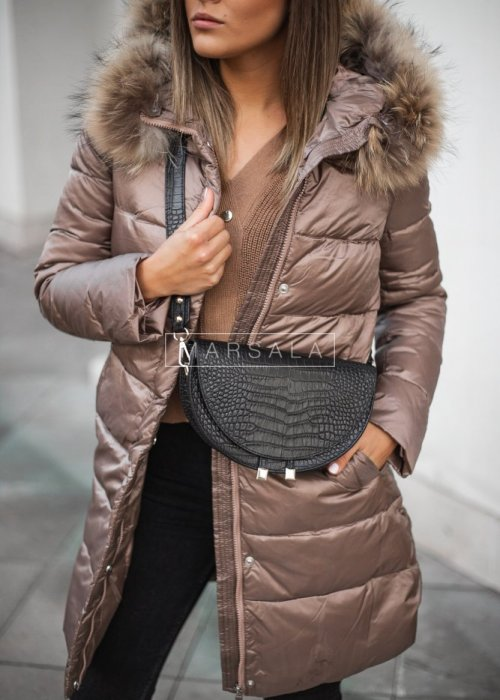Hooded long, fitted fur winter jacket, mocca – LUXURY