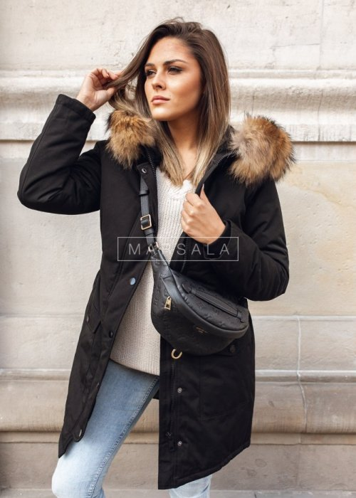 Long black winter jacket draped at the waist – ONLY