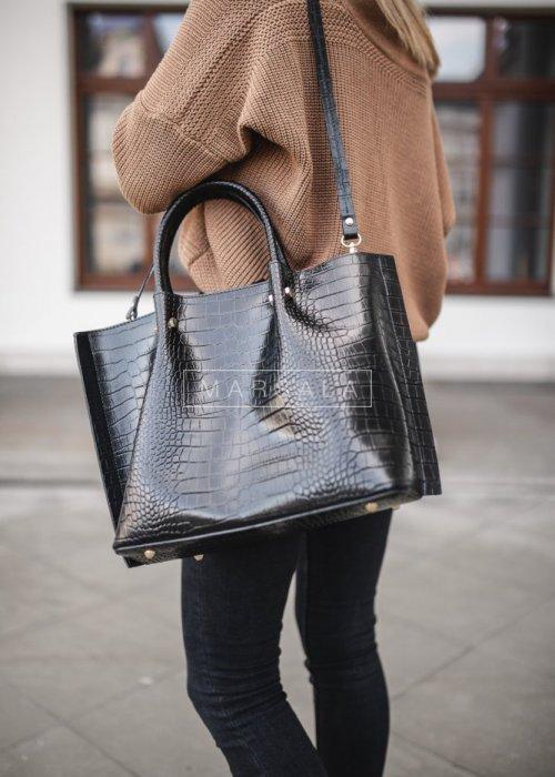 Embossed genuine leather black shopper bag – GRAND