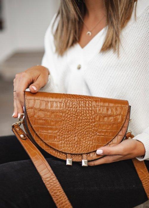 Crescent leather handbag with brown embossing – GEMINI