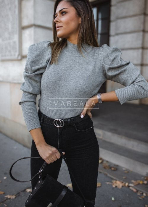Fitted, short turtleneck sweater with puffs in grey – BECKY