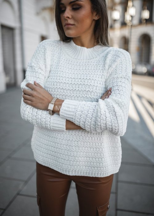 Crew-neck ecru sweater – DARCY