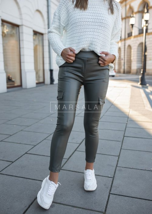 Spodnie bojówki skórzane khaki - PRISON