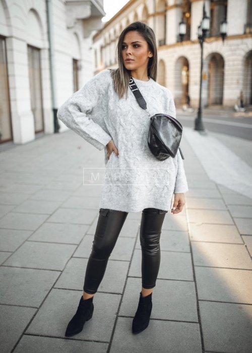 Sweter oversize z miękkiej dzianiny w kolorze szarym - SHEEP