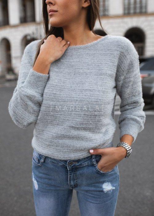 Sweter w kolorze szarym z wycięciem na plecach - NAKED
