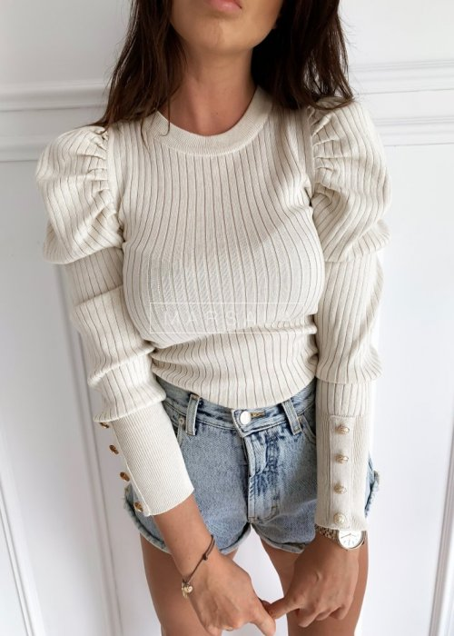 Ribbed sweater with puffed shoulders – HOLLY