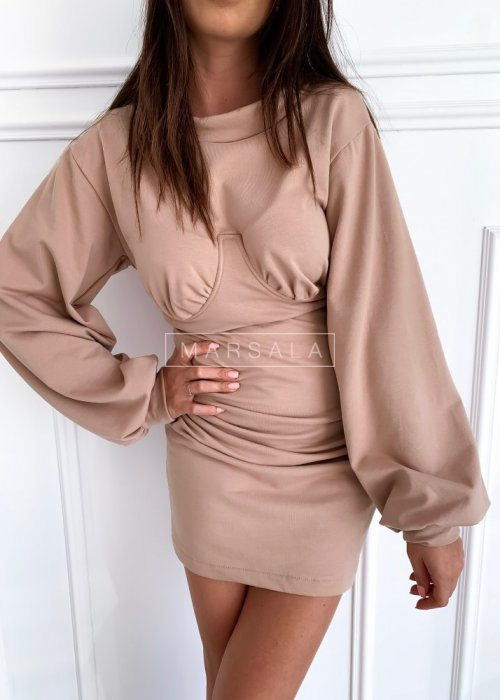 Fitted long-sleeved dress in beige – SHAPER