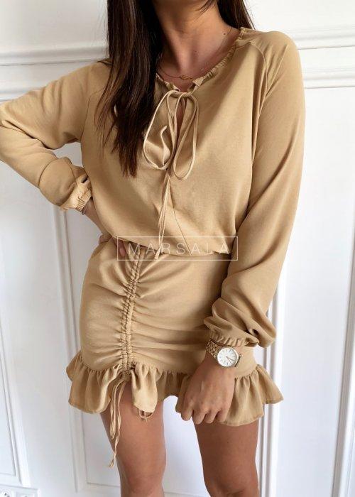Beżowa sukienka koktajlowa z długim rękawem - ELEN BEIGE