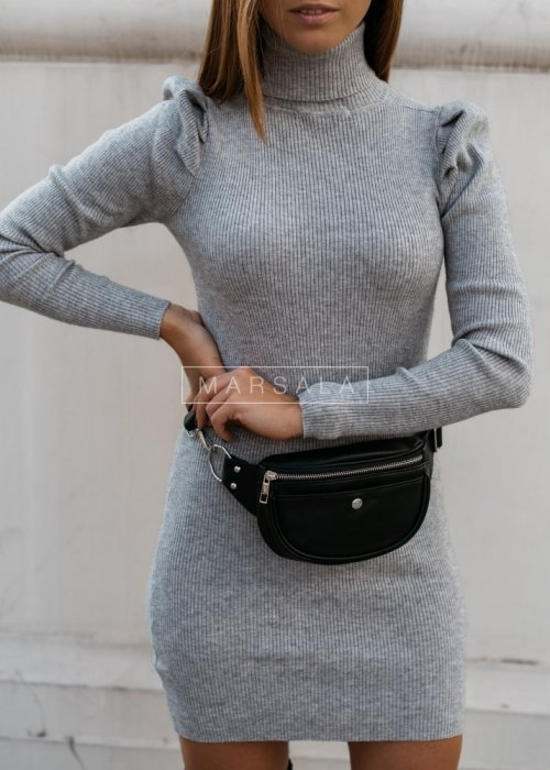 Fitted turtleneck dress with puffs grey - CLINGY GREY