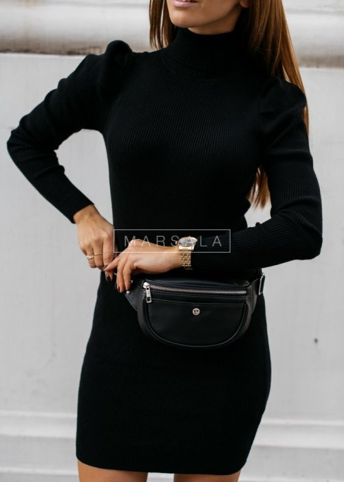 Fitted turtleneck dress with puffs black - CLINGY GREY