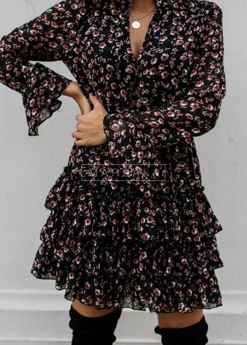 Koktajlowa sukienka z kwiatowym printem i falbankami czarna - GALWAY BLACK