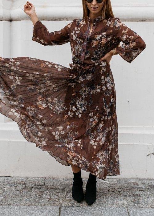 Plisowana sukienka maxi w kwiatowy deseń - PRESTIGE FLOWER
