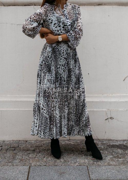 Pleated maxi dress with animal pattern - PRESTIGE GREY