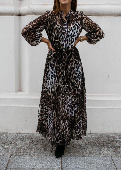 Plisowana sukienka maxi w zwierzęcy deseń - PRESTIGE BEIGE