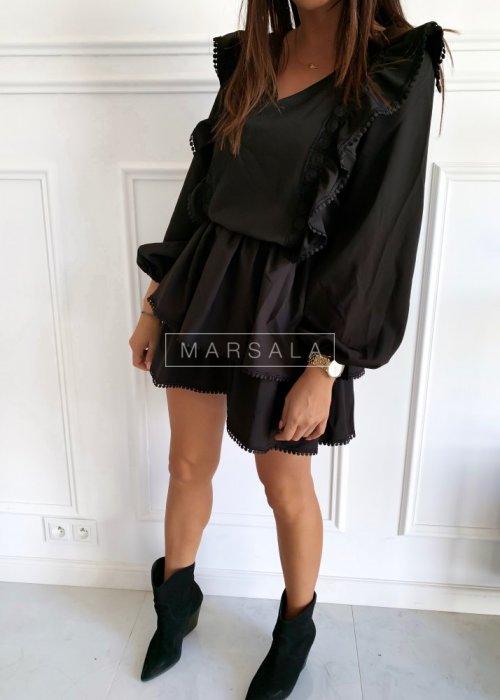 Sukienka koktajlowa czarna z falbankami - PERSONALITY