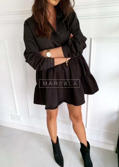 Shirt frill dress in black - NAME BY MARSALA