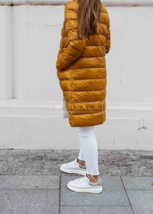 Hoodless quilted coat in mustard– ELITE