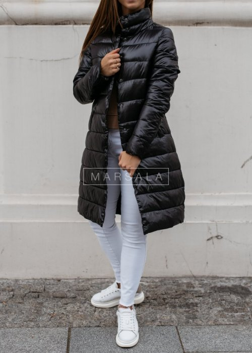 Hoodless quilted coat in black– ELITE