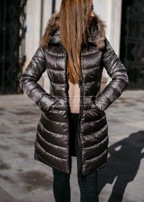 Hood and fur grey jacket / coat – SMITH