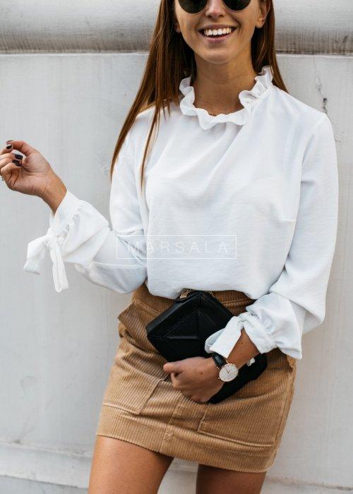 Bluzka VIXEN ecru by MARSALA z wiązaniami na rękawach