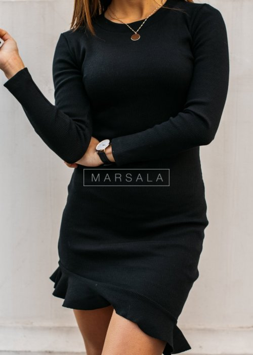 Long-sleeved frill mini dress in black - DREAM BY MARSALA