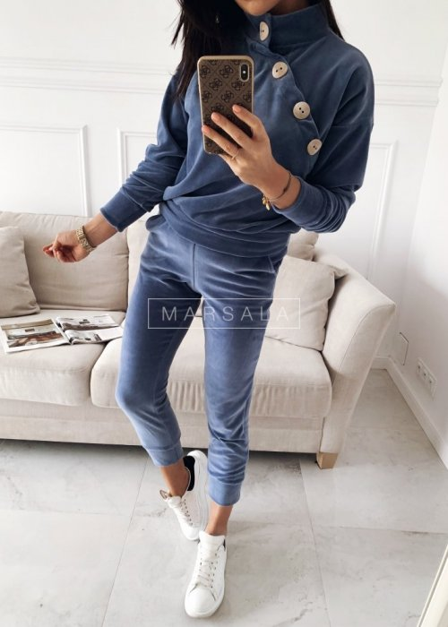 Sweatshirt velour set in blue – VELVET
