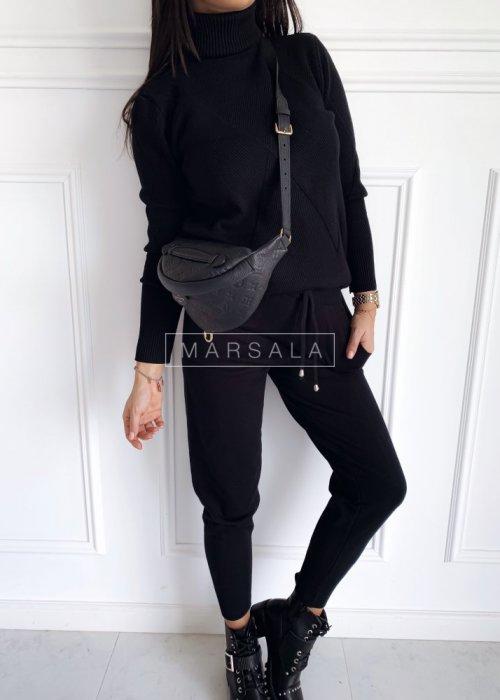 Komplet sweterkowy z golfem czarny - DENNIS