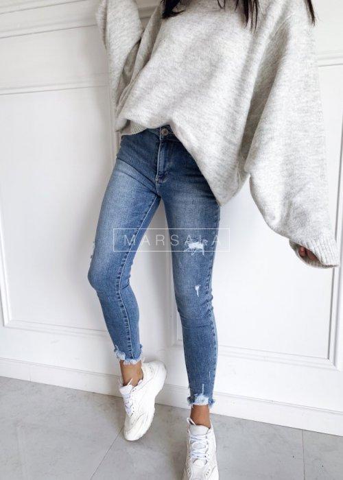 Light denim trousers with belt - LONG LEGS