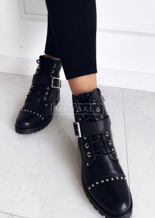 Lace-up ankle boots with straps and jets – PETER