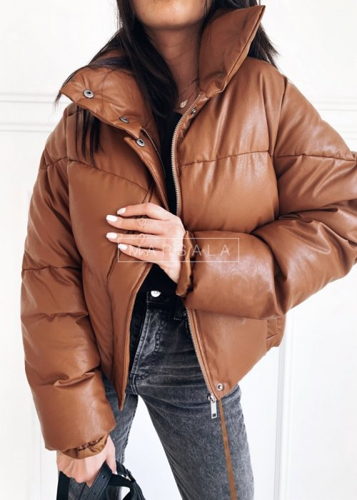 Down high collar jacket brown eco leather– ALPINE