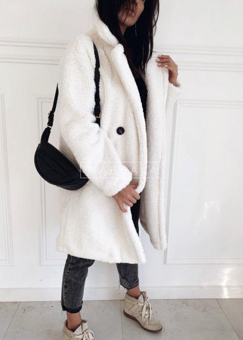 Futrzany/pluszowy płaszcz oversize w kolorze ecru - MALMO